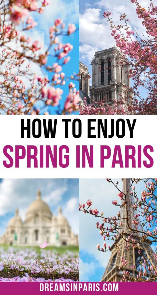 Planning to visit Paris in spring? Here is the ultimate guide to traveling to Paris in spring with all the tips you need to know.  Paris in spring outfits  Paris in spring pictures  what to pack for Paris in spring  things to do in Paris in spring  Paris in spring things to do  what to do in Paris in spring  Paris in spring weather  tips for visiting Paris in spring   Paris in springtime  Paris spring time  Paris in spring travel #paristraveltips #parisspringtime