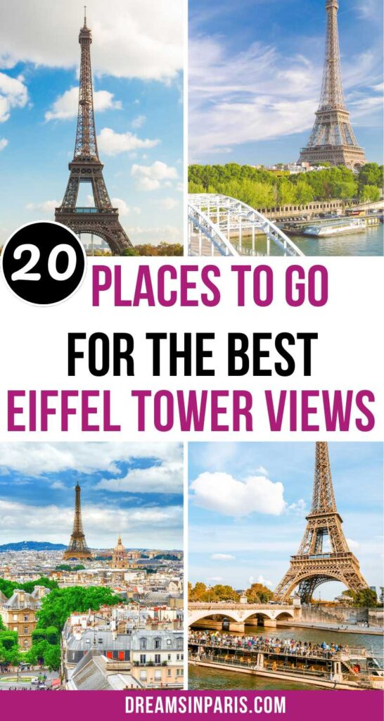 Looking for where to find the best views of the Eiffel Tower? This post will show you all the places plus how to get there with an interactive map.   best Eiffel tower views  Best views of Eiffel Tower  best views of the Eiffel tower  best places to see the Eiffel tower  best Eiffel tower photo spots  Eiffel tower street view  best view of the Eiffel tower  Eiffel Tower best view  Best places to view the Eiffel Tower  Best hotels with Eiffel Tower view  Best Eiffel Tower Views  Paris Eiffel Tower views  stunning views of the Eiffel tower in Paris  top views of Eiffel tower #eiffeltowerviews #viewsofeiffeltower #bestplacestovisitinparis