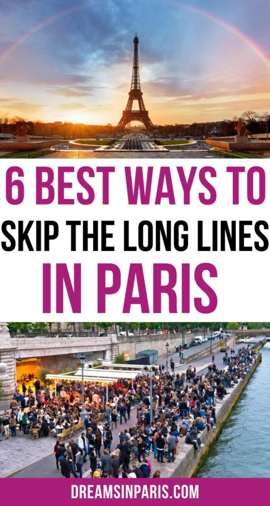 Are you looking for ways to skip lines in Paris? This post will show you all the tips you need to beat the crowds. | skip the line in Paris| Eiffel tower skip the line tickets| skip the lines Paris| skip the line Paris tickets| Paris Skip the Line Tickets| louvre skip the line tickets| skip the line Paris tours| Paris catacombs skip the line | Paris travel tips first time | how to skip the line in Paris | Paris tips and tricks #paristraveltips #paristravelguide