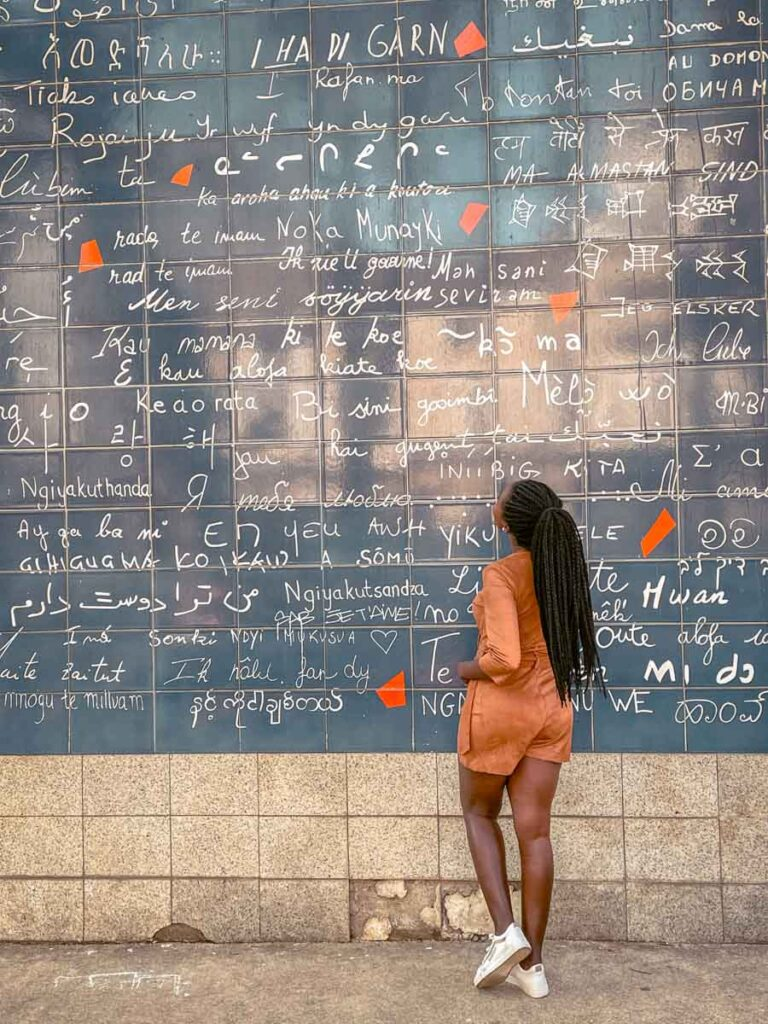 Visiting the i love you wall is one of the romantic things to do in Paris